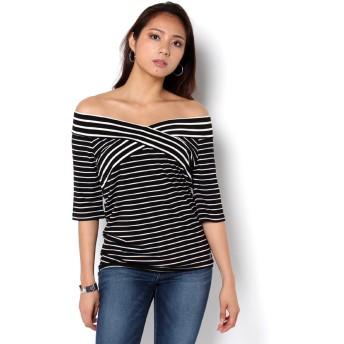 Tシャツ - GUESS【WOMEN】 [GUESS] S/S BORDER OFF SHOULDER TOP