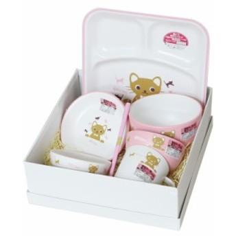 お食い初め 食器セット キトゥン 7点セット ピンク (山中漆器)(日本製 国産 お祝い 御祝い ギフト 出産祝い)