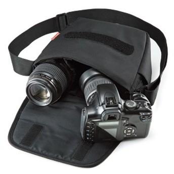 ▼【サンワサプライ】一眼レフカメラケース(ブラック)DG-SBG06BK 一眼レフカメラとレンズ1本をすっきり収納、持ち運びに最適なカジュ