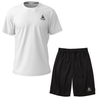 ルコックスポルティフ Tシャツ メンズ ユニセックス 半袖シャツ&ハーフパンツ 上下セット ホワイト×ブラック QMMNJA30ZZ-WHT-QMMNJD20ZZ-BLK