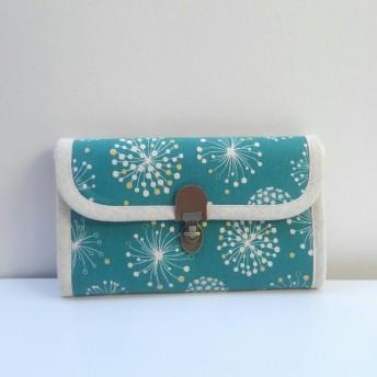 【受注販売】タンポポ柄ターコイズブルーの長財布