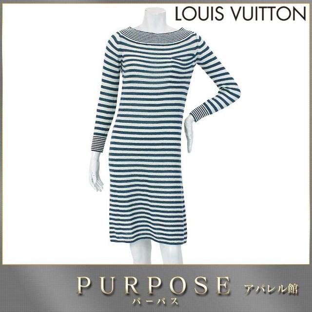 ff3ee97d426e ルイヴィトン LOUIS VUITTON ニット ワンピース 長袖 ボーダー 柄 ブルー ホワイト サイズ XS レディース LV