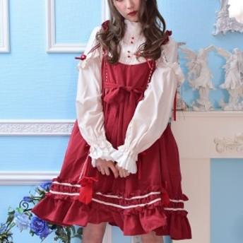 ワンピース レディース ロリータワンピース Lolita ゴスロリ 赤 レッド キャミソールワンピース ゆったり スカート