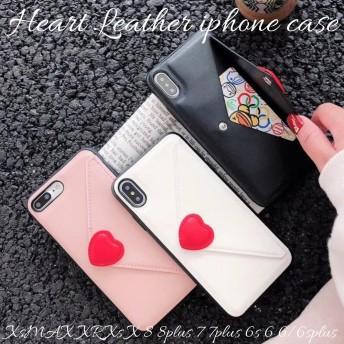 iphoneケース iphoneXs max xr x 8 8plus 7 6s 6plus スマホ ケース アイフォンケース レザー ソフト ハート トレンド 大人可愛い 韓国 上品 かわいい