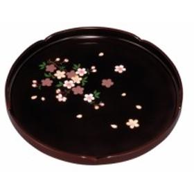 紀州漆器 10.0丸盆(花型) 溜 里桜 21177