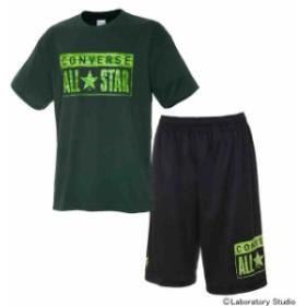 コンバース プリントTシャツ&プラクティスパンツ上下セット Dグリーン×ブラック CB291310-4700-CB291810-1900