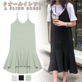61d2a393e5af4 韓国ファッション セクシーワンピース 夏 半袖 Vネック ワンピース 着痩せ 体型カバー Aライン ウェストゴム
