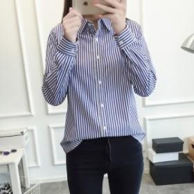 ストライプシャツ胸リボンマークし ☆0014