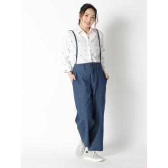 【大きいサイズレディース】【L-2L】アートキカブロックプリント パンツ パンツ デニムパンツ・ジーンズ