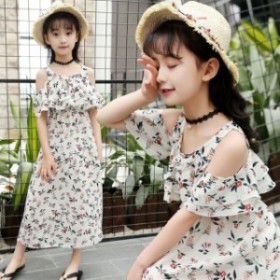 韓国子供服 女の子 オフショルダーワンピース 半袖 肩だし プルオーバー  シフォン 花柄ワンピース 120 130 140 150 160cm