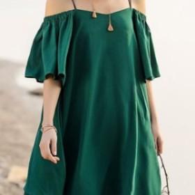 【0217】レディース ファッション キャミ ワンピース リゾート スリーブ ビーチ ノースリーブ グリーン