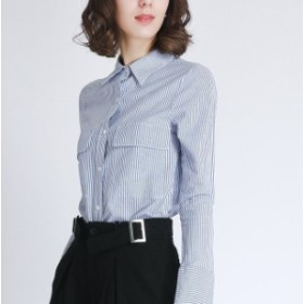 ストライプシャツ(胸ポケットあり/なし)☆0015