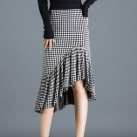 裾フリルのチェック柄ひざ丈スカート☆0842