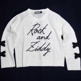 セール 50%OFF ZIDDY ジディー ビッグセーター 胸ロゴ刺繍入 袖編上げ ニット 子供服 キッズ 女児用 1232-97026 白 ホワイト