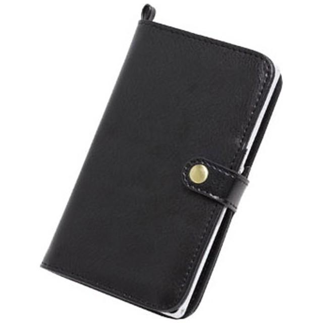 スマートフォン用[幅 75mm] マルチダイアリーケース (ブラック)