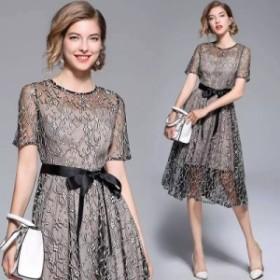 花柄レースのシックなひざ丈ドレス  ウエストリボン ラウンドネック 大人かわいい  上品  エレガント 透け感  半袖  ブラッ