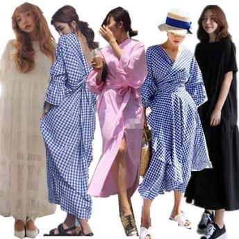 韓国ファッション /ストライプシャツワンピースに袖ゆったりPOLO/スカート/Vネックワンピース/レディースファッション