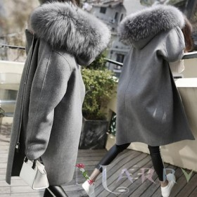 韓国ファッション/// 冬服 秋冬物ゆったりしたシルエットで体型カバー/ファーポイントフード付きチェックコート/トレンチコート レディース 通勤オフィス ロングトレ
