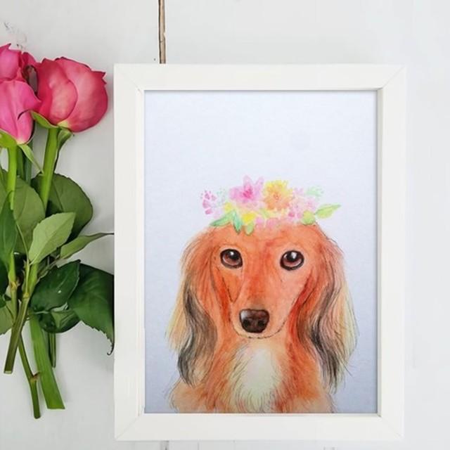 うちの子の似顔絵イラスト花かんむり水彩ペンペットさん