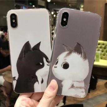 可愛い 猫 エンジェル デビル iPhone ケース 送料無料 iPhone6/6s iPhone6plus/6splus iPhone7/8 iPhone7plus/8plus iPhoneX