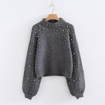 欧米の真珠の装飾半ハイネックニットセーター ニットセーター メリヤス 長袖セーター ベーシック 大人気