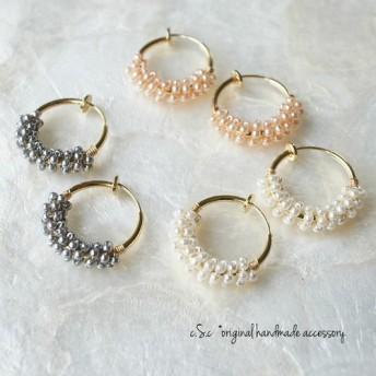 tiny pearl*フープイヤリング(ピュアホワイト)