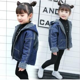 キッズコート 暖かい裏起毛 子供ジャケッ 子供服 韓国ファッション キッズファッション 長袖コート 女の子アウターウェア 子供オーバーコート デニム素材 子供コート女の子開襟