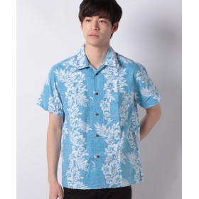 マルカワ 綿素材 アロハシャツ 裏プリント メンズ ターコイズ S 【MARUKAWA】