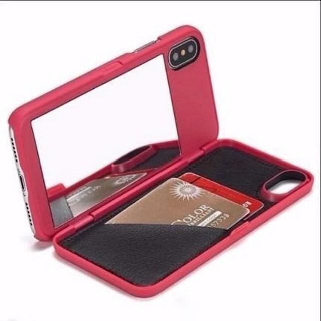 5色 手帳型 ミラー付き iPhoneX スマホ ハードケース 送料無料 iPhone6/6s iPhone6plus/6splus iPhone7/8 iPhone7plus/8plus