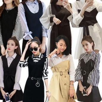 2枚送料無料色んなカラー選べるスクール新入荷 韓国ファッション/ワンピースアイテム/タイドブランド/ストリート/ビッグサイズ/ユルイタイプ ミニドレス ショートドレス