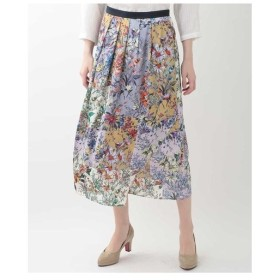 GEORGES RECH / 【日本製】【洗濯機OK】フラワープリントサテンフレアスカート