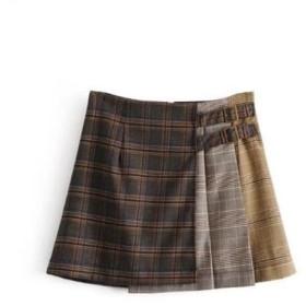 ハイウエスト格子チェックのスカートのプリーツスカート ミニスカート プリーツスカート チェック柄