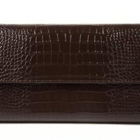 【brilliant. J】牛革 クロコダイル 型押し 長財布 セカンドバッグ ダークブラウン BJ-014