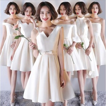 ライズメイド服 花嫁 ウェディングドレス 厚サテン ワンピース 花嫁の介添えドレス 6タイプ 膝丈 ひざ丈 ドレス プリンセスドレス 編み上げ スレンダーライン