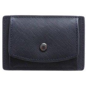 アッド Add+ 本革サフィアーノレザーコインパスカードケース コンパクトミニウォレット 財布 (ネイビー)
