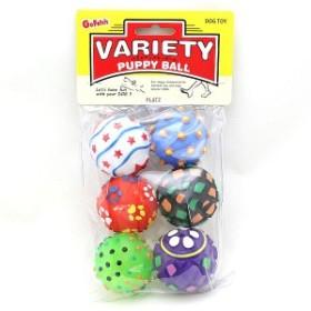 小さなボール6個入り。音が鳴ります。パピーボール 6P 犬用おもちゃ t05941