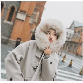 秋冬ミドル丈ダッフルコート幅広くしっかり体型カバー モコモコ素材感、ふわふわ肌触りロング アウター 毛襟コート ダッフルコート ロングコート