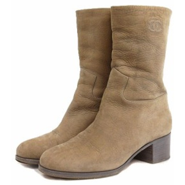 d6569b1d935d シャネル CHANEL ブーツ ショート ココマーク ローヒール レザー ベージュ 37 1/2C シューズ 靴 IBS1