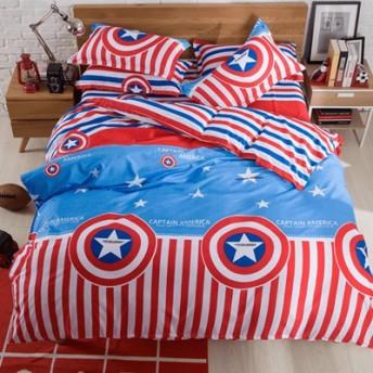 ベッドシーツ+布団カバー+枕カバー セット 学生 子供 一人暮らし夏寝具 掛け布団 肌ふとん 通年 春 寝具 四節適用 可愛い スーパーマン 花柄 ボーダー柄