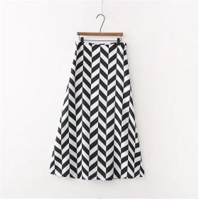 欧米風夏新型ハイウエスト百搭交叉ストライプゆったり半身裙 ロングスカート