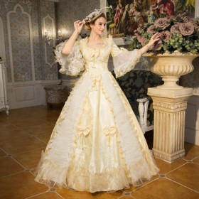 ステージ衣装としても最適 人気お姫様ドレス プリンセスライン 公爵夫人 宮廷服  演劇オペラ声楽 豪華に見えるお姫様ドレス 舞台 中世 貴族 衣装