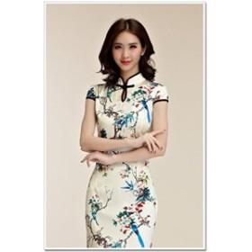 半袖 レディース ロング丈ワンピース チャイナドレス きれいめ ベージュ M L LL 3L 4L 大きいサイズ