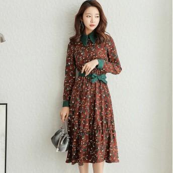 2019年 韓国ファッション ワンピース ドレス レトロ花柄 刺繍 レース ミモレ丈 ワンピース