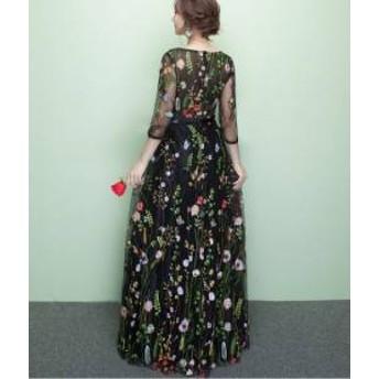ドレス ワンピース ロング丈 七分袖 黒 花柄 シースルー ガーリー 20代 上品 きれいめ 春夏 結婚式 お呼ばれ a630
