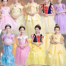子供 キッズ お姫様 キッズドレス コスプレハロウィン 衣装 プリンセス コスプレベル ドレス プリンセス 美女と野獣風 Belle ロングドレス しっかり3層構造 ふわりん コスチューム なりきり