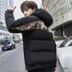 限定発売 高品質で 韓国ファッション メンズ フードつき 縫付 迷彩柄 ダウンコート ジャケット 長袖 綿 コート防風 秋冬