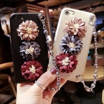 可愛い 2色 花 チェーン付 iPhone ケース 送料無料 iPhone6/6s iPhone6plus/6splus iPhone7/8 iPhone7plus/8plus