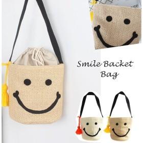 送料無料!Smile Backet Bag スマイルバケツ型ペーパーバッグ カゴバッグ にこちゃん タッセル付き