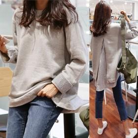 韓国ファッション 春 レディース服 ゆったり フェイクインナー アンバランス ティシャツ 着回し トップス 長め レディース 服 綿100%