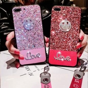 3色 キラキラ スマイル ストラップ付 iPhone 送料無料 iPhone6/6s iPhone6plus/6splus iPhone7/8 iPhone7plus/8plus iPhoneX